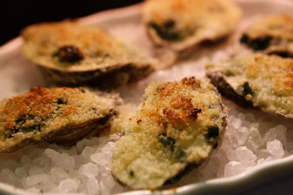 Oysters Rockefeller prepared by Chef Michael Cimarusti (CQ) from Providence and Connie and Ted's restaurants cooks three recipes, Deviled Oysters, Oysters Rockefeller and Baked Clams.