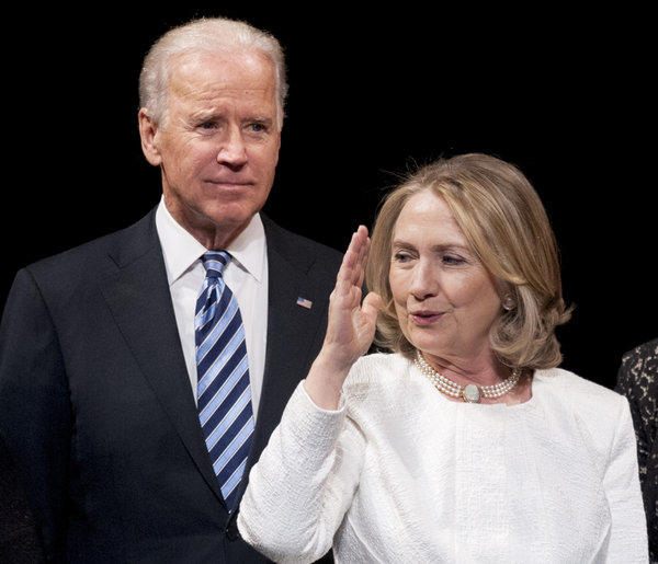 Vice President Joe Biden and former Secretary of State Hillary Rodham Clinton at the Global Leadership Awards gala at the Kennedy Center in Washington.