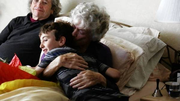 """Lenore Lefer with her husband, Mel, and grandson, in a scene from the six-part documentary series """"Time of Death."""" This is Episode 2."""