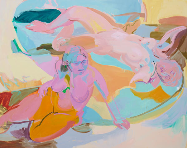 "Sarah Awad ""Untitled (Reclining Women),"" 2013 oil on linen 75 x 95 inches"