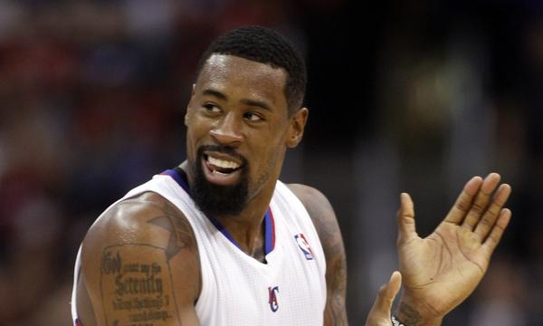Clippers center DeAndre Jordan applauds during the team's victory over the Golden State Warriors on Thursday.