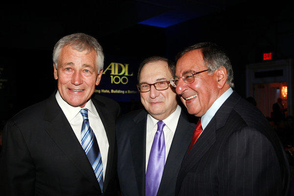 Defense Secretary Chuck Hagel, left, and former Defense Secretary Leon E. Panetta, right, are greeted by Anti-Defamation League National Director Abraham Foxman at a New York dinner.
