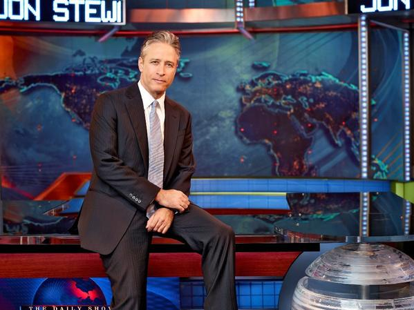 "Jon Stewart on the set of ""The Daily Show."""
