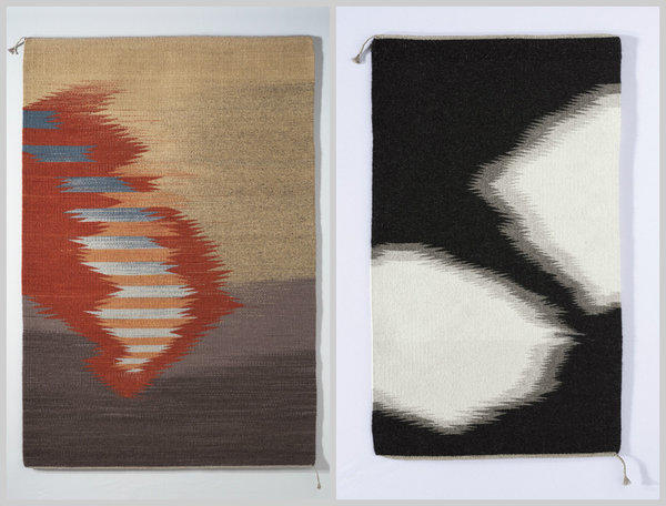 "Regina Vorgang's handwoven rugs include ""Visions,"" left, made of dyed wool and nearly 6 feet long ($2,400). ""The Paint Horse,"" right, is made of Churro sheep wool. It's only about 4 feet long (scale is distorted in the photo collage) and priced at $1,000."