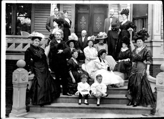 W A. Clark is pictured in Los Angeles with most of his siblings, as well as other relatives. This was in 1908, a year after he left the U.S. Senate. He had opened the railroad connecting Los Angeles and Salt Lake City in 1905. Clark, 69, is second from
