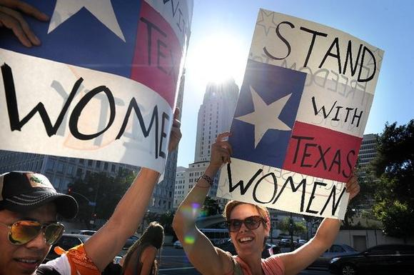 Protesting Texas abortion law in L.A.