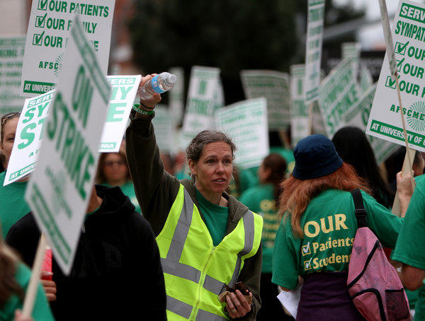 Kathryn Lybarger, president of AFSCME 3299, participated in the two-day strike against UC medical centers in May. The union is now threatening another walkout.