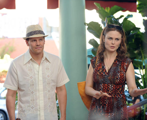"The happy couple (David Boreanaz and Emily Deschanel) are on their honeymoon on ""Bones."""