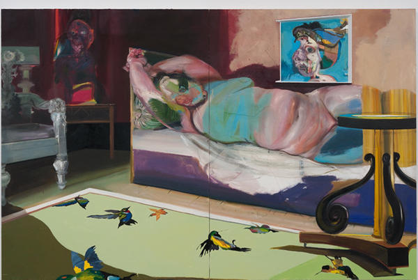 """Natalie Frank's """"Portrait in Interior With Window"""" is a 2013 work of oil, enamel and collage on board."""