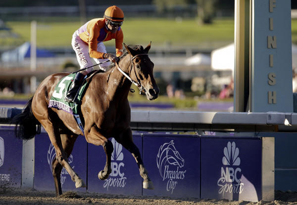Beholder, with Gary Stevens aboard, breezes to victory in the Breeders' Cup Distaff on Friday at Santa Anita Park.