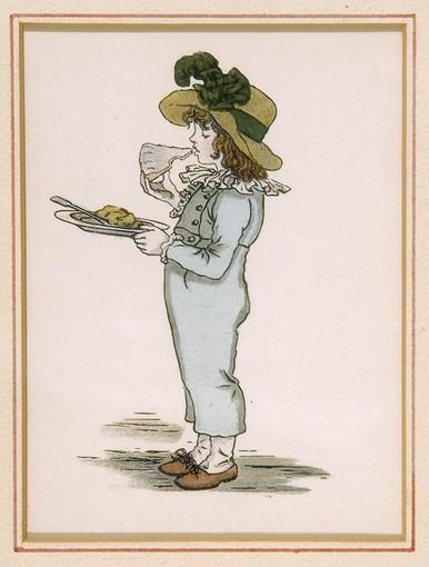 """Boy Holding Apple Pie"" is an 1886 woodblock print from the Kate Greenaway book ""A Apple Pie."""