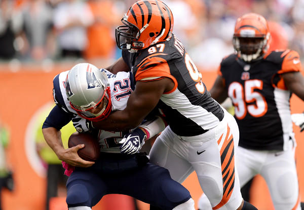 Bengals defensive tackle Geno Atkins sacks Patriots quarterback Tom Brady during a game last month in Cincinnati.