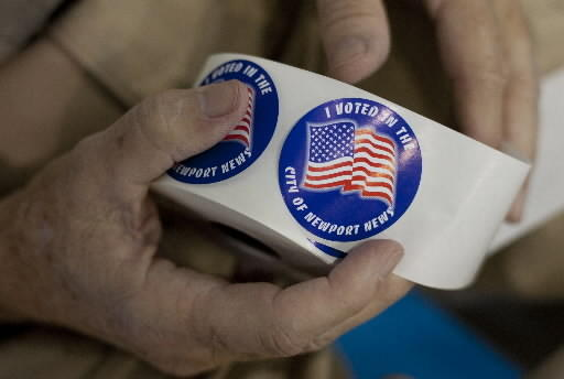 """""""I Voted"""" stickers in Newport News"""