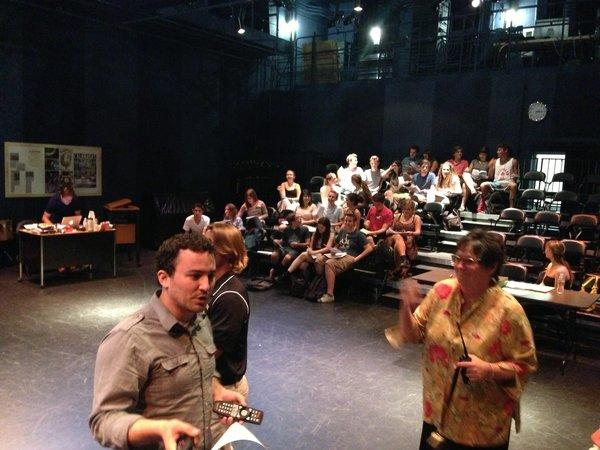 Calabasas High School teacher Brian Ludmer is shown at left in theater class. He was shot in the leg at LAX on Friday.