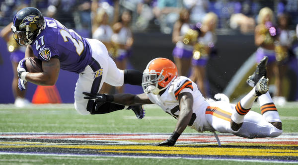 Ravens running back Ray Rice is tackled by Cleveland Browns free safety Tashaun Gipson in their Sept. 15 meeting, a 14-6 Ravens win.