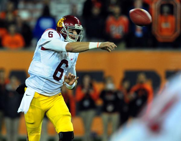 USC quarterback Cody Kessler fires a pass in the second half against Oregon State. Kessler shook off an interception returned by the Beavers for the tying touchdown with a 73-yard scoring pass to Marqise Lee and finished the night 17 of 21 for 247 yards.