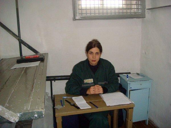 Pussy Riot punk band member Nadezhda Tolokonnikova in a single confinement cell last month at the penal colony in the village of Partza, Russia.