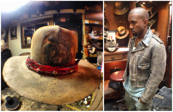 At left, a hat bearing the burned-in likeness of Jesus that Kanye West custom-ordered from hatmaker Gunner Foxx. At right, the rapper at Foxx's Los Angeles atelier.