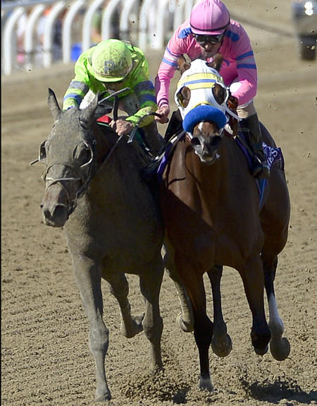 Ria Antonia, left, with jockey Javier Castellano aboard, drives down the stretch against She's a Tiger and jockey Gary Stevens in the Breeders' Cup Juvenile Fillies race on Saturday at Santa Anita Park.
