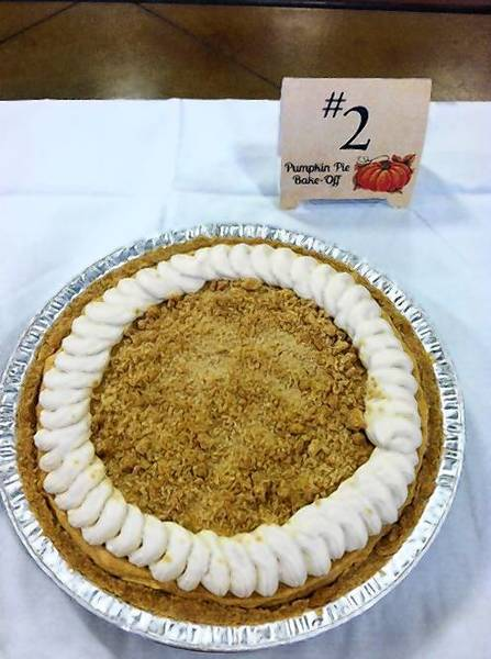 Danielle Nardi's pumpkin pie took first place in the Williamsburg Pottery Pumpkin Pie Bake-Off