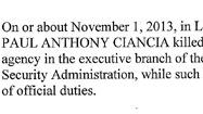 Federal criminal complaint against Ciancia