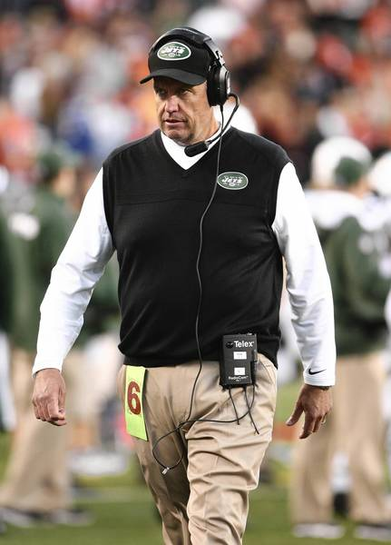 Oct 27, 2013; Cincinnati, OH, USA; New York Jets head coach Rex Ryan on the sidelines during the game against the Cincinnati Bengals at Paul Brown Stadium. Cincinnati defeated New York 49-9.