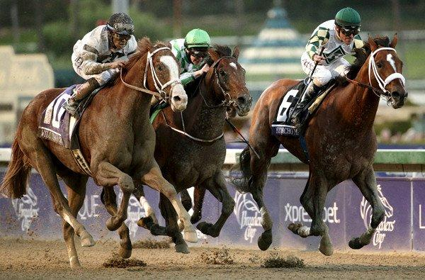 Jockey Gary Stevens and Mucho Macho Man edge Will Take Charge for the victory in the Breeders' Cup Classic race on Saturday at Santa Anita Park.
