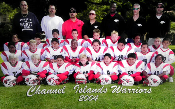 Among the 2004 Channel Islands Warriors are Top Left corner: Brandon Dawkins (top left), Michael Owusu (lower right), Quincy Bennett (second row, fourth from left) and Francis Owusu (third round, second from right).
