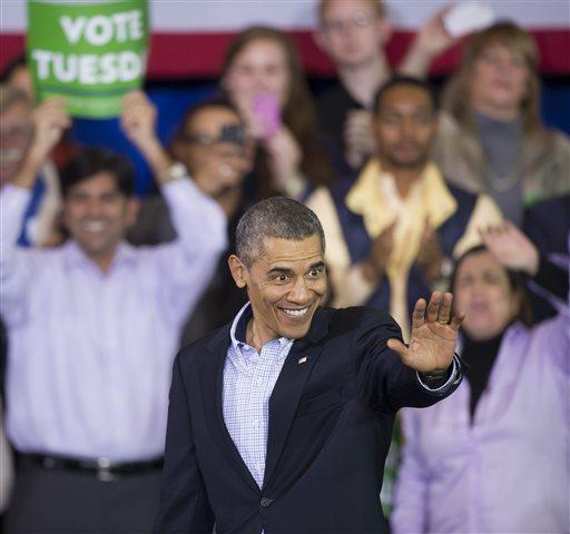 President Obama campaigns for Virginia Democratic gubernatorial candidate Terry McAuliffe in Arlington, Va.