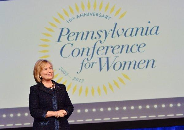 Former Secretary of State Hillary Rodham Clinton speaks at the Pennsylvania Conference for Women in Philadelphia.