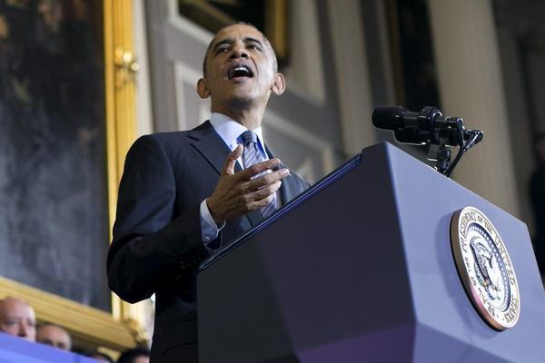 President Obama addressed the Affordable Care Act inside historic Faneuil Hall in Boston, Mass.