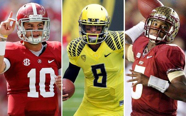 AJ McCarron and Alabama are No. 1 and will likely stay that way if remaining unbeaten, so the race for No. 2 will come down to Marcus Mariota (8) and Oregon vs. Jameis Winston and Florida State.