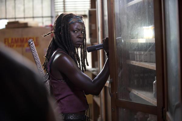 "Michonne (Danai Gurira) searches for prescription meds on ""The Walking Dead"""
