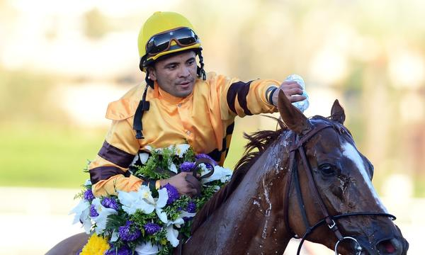 Jockey John Velazquez remains hospitalized after falling off his horse during a Breeders' Cup race Saturday.