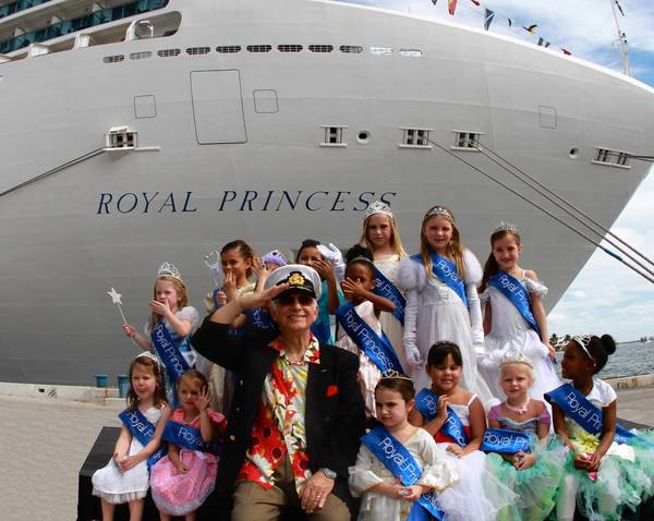 """Royal Princess arrived at Port Everglades in Fort Lauderdale for its North American debut. """"Love Boat"""" Capt. Gavin MacLeod was on hand to welcome the ship as it arrived at the port, where he was joined by a court of young girls proclaimed """"royal princesses"""" for the day."""