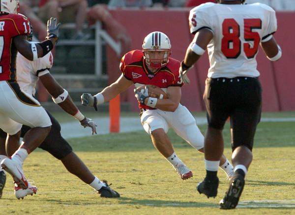 Terps return specialist Steve Suter looks for running room against Northern Illinois in 2004.