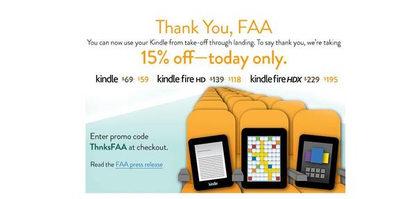 Amazon launched a one-day sale on Kindles after the FAA eased restrictions on the use of portable electronic devices on planes.