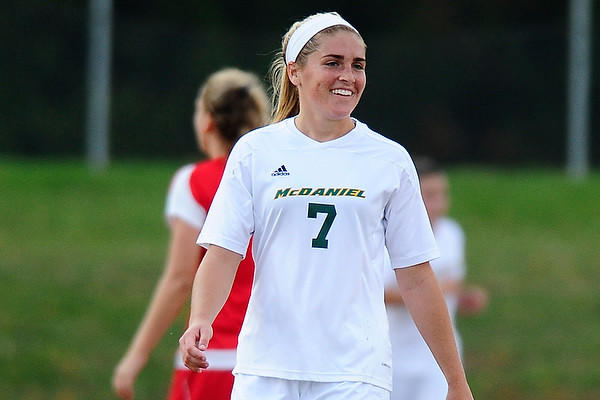 Julia Pope of Hampstead led the Green Terror on Saturday with a goal and an assist to propel the McDaniel women's soccer team into the conference playoffs for the first time in program's history.