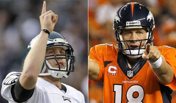 Philadelphia's Nick Foles, left, and Denver's Peyton Manning each have seven-touchdown games this season.