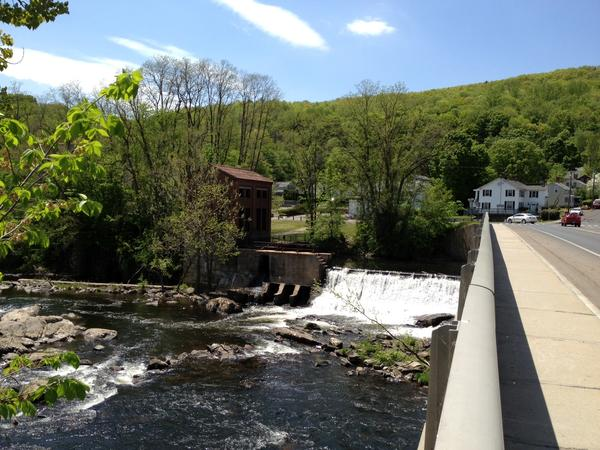 A view of the dam on the Farmington river in Collinsville. The town may seek requests from private companies to get involved in a project that would use the dam for hydroelectric power.