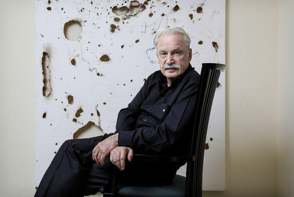 Giorgio Moroder, here relaxing at home, kept the EDM crowd moving during his set at the Hard Day of the Dead festival on Sunday.