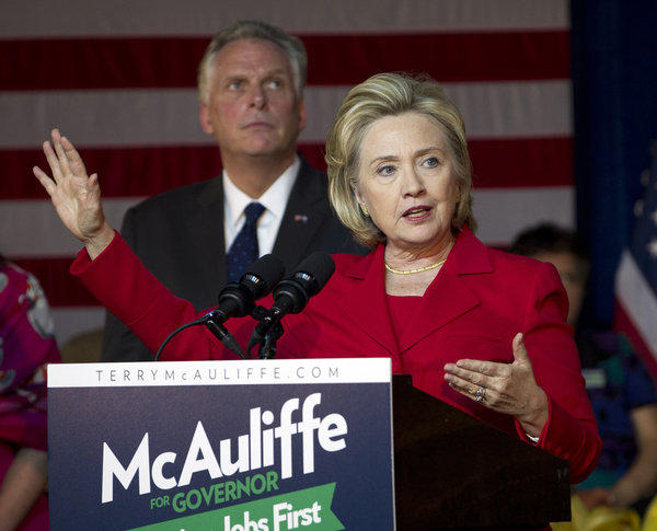 Former Secretary of State Hillary Clinton speaks at a campaign rally for Virginia gubernatorial candidate Terry McAuliffe in Falls Church, Va.