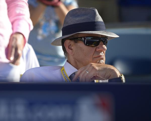 Hall of Fame nominee Joe Torre watches a National League Championship Series game between the Dodgers and St. Louis Cardinals last month at Dodger Stadium.