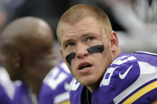 Kyle Rudolph of the Minnesota Vikings looks on during the game against the Carolina Panthers on Oct. 13 at Mall of America Field in Minneapolis.