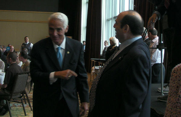 Former Gov. Charlie Crist (left) and former Senate Minority Leader Steve Geller at the Westin Diplomat Hotel in Hollywood on Friday.