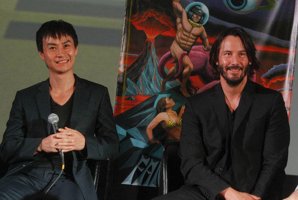 "Tiger Chen, left, and Keanu Reeves answer questions following the U.S. premiere of ""Man of Tai Chi"" in Austin, Texas."