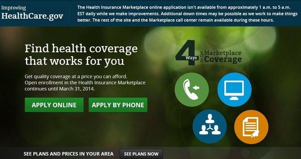 A screen grab from the home page of HealthCare.gov, the website for the 34 state health insurance exchanges being operated by the federal government.