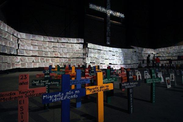 "View of a memorial installed by the ""Embroidering for Peace"" civil movement with handkerchiefs embroidered with the names of victims of violence in Guadalajara, Mexico, on Nov. 2, 2013 -- Mexico's Day of the Dead."