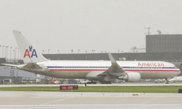 An American Airlines jet arrives at O'Hare last month.