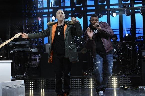 "Eminem (left) performing last weekend on NBC's ""Saturday Night Live."""